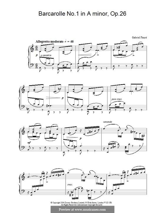 Barcarolle Nr.1 in a-Moll, Op.26: Für Klavier by Gabriel Fauré