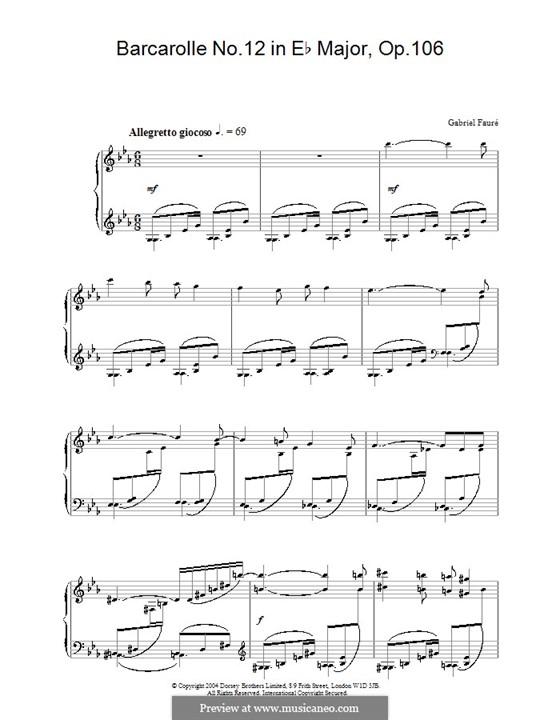 Barcarolle Nr.12 in Es-Dur, Op.106bis: Für Klavier by Gabriel Fauré