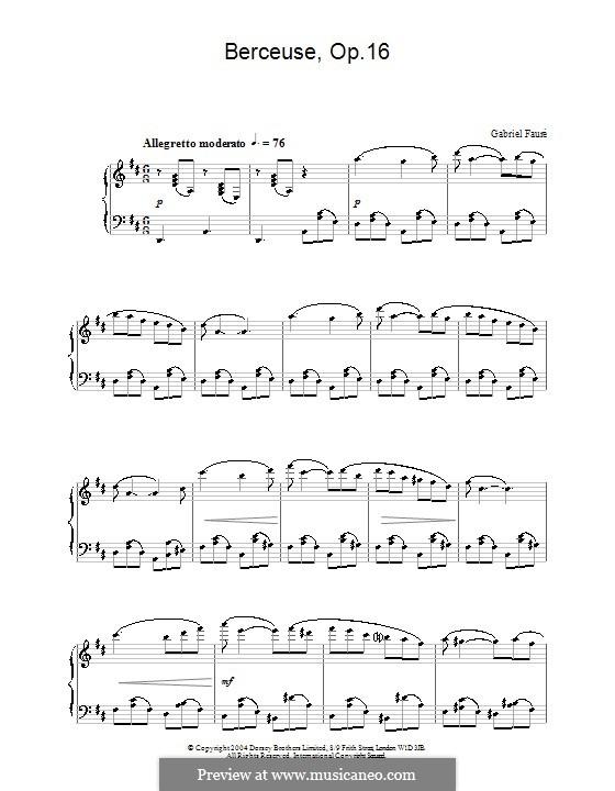 Wiegenlied für Violine und Klavier, Op.16: Version für Klavier by Gabriel Fauré