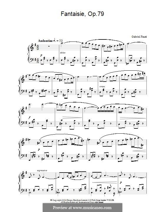 Fantasie für Flöte und Klavier, Op.79: Version für Klavier by Gabriel Fauré