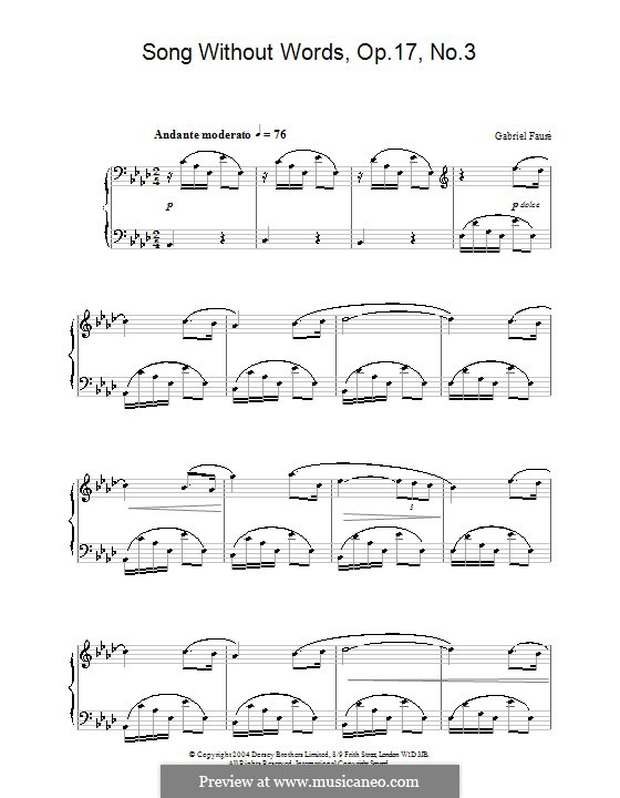 Romanzen ohne Worte, Op.17: Nr.3 in As-Dur (Noten von hoher Qualität) by Gabriel Fauré