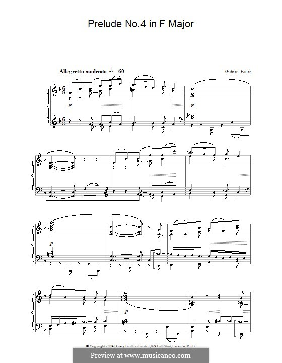 Neun Preluden, Op.103: Präludium Nr.4 in F-Dur by Gabriel Fauré