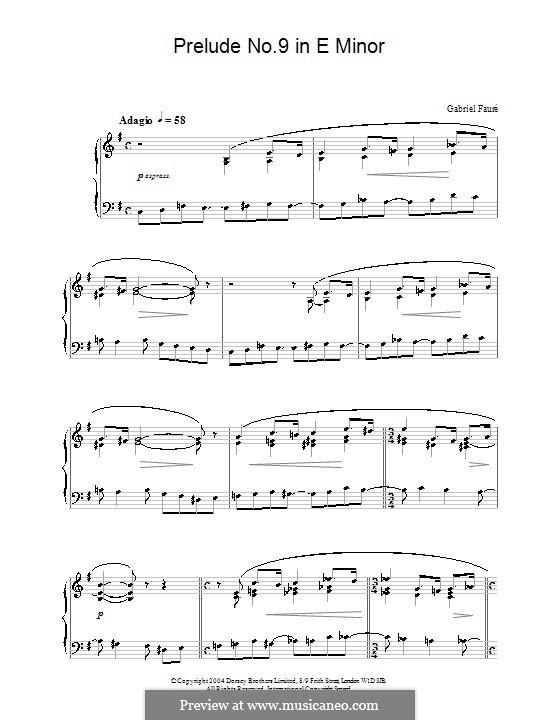 Neun Preluden, Op.103: Präludium Nr.9 in e-Moll by Gabriel Fauré