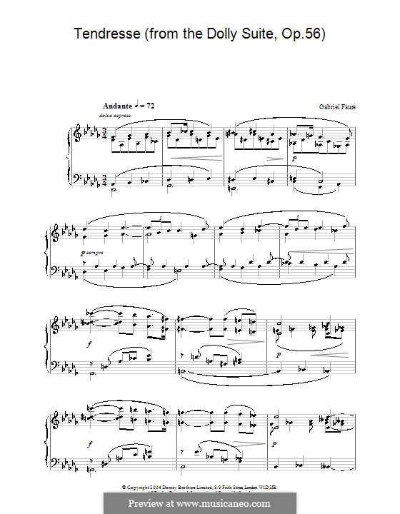 Dolly Suite, Op.56: No.5 Tendresse, for piano by Gabriel Fauré