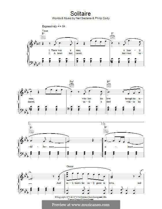 Solitaire (Carpenters): Für Stimme und Klavier (oder Gitarre) by Neil Sedaka, Philip Cody