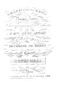 Klavierkonzert Nr.1 in A-Dur, Op.34: Klavierkonzert Nr.1 in A-Dur by Henri Herz