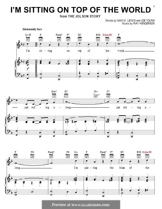 I'm Sitting on Top of the World: Für Stimme und Klavier (oder Gitarre) by Ray Henderson