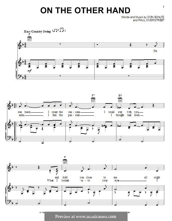 On the Other Hand (Randy Travis): Für Stimme und Klavier (oder Gitarre) by Don Schlitz, Paul Overstreet