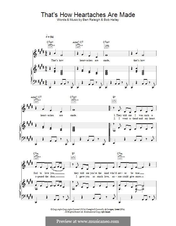 That's How Heartaches Are Made (Baby Washington): Für Stimme und Klavier (oder Gitarre) by Ben Raleigh, Bob Halley