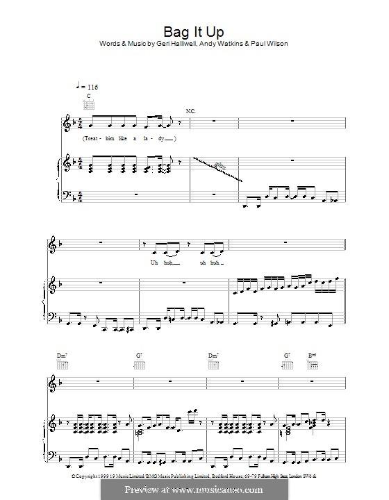 Bag It Up (Geri Halliwell): Für Stimme und Klavier (oder Gitarre) by Andy Watkins, Paul Wilson