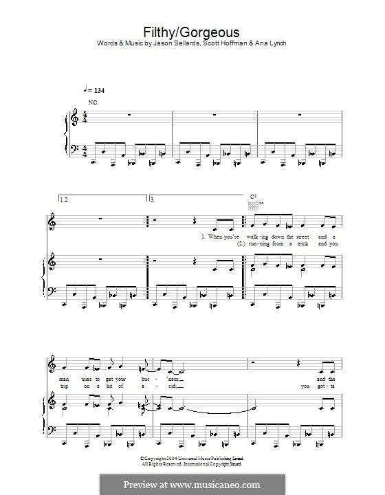 Filthy/Gorgeous (Scissor Sisters): Für Stimme und Klavier (oder Gitarre) by Ana Lynch, Jason Sellards, Scott Hoffman