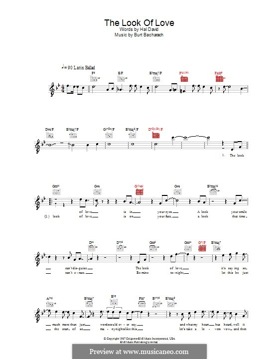 The Look of Love: Melody line, lyrics and chords (Diana Krall) by Burt Bacharach