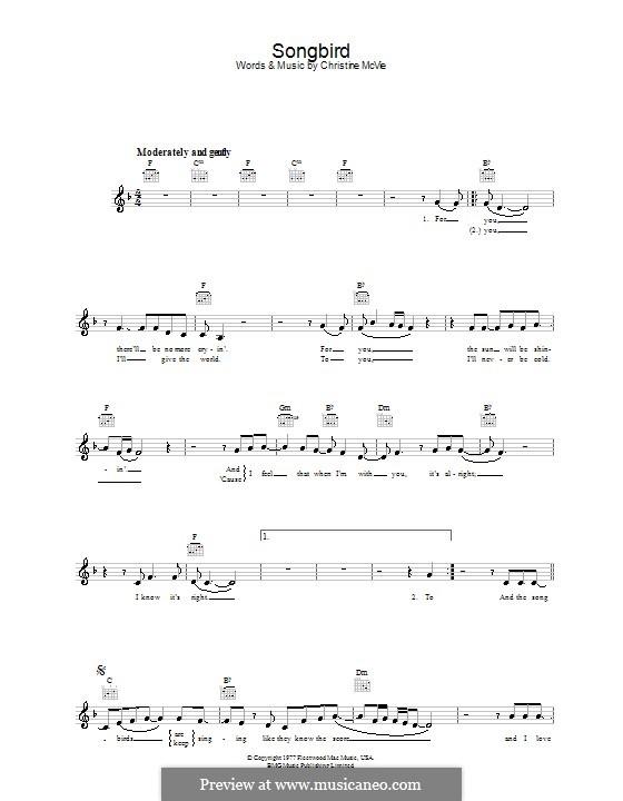 Songbird (Fleetwood Mac): Melodie, Text und Akkorde by Christine McVie