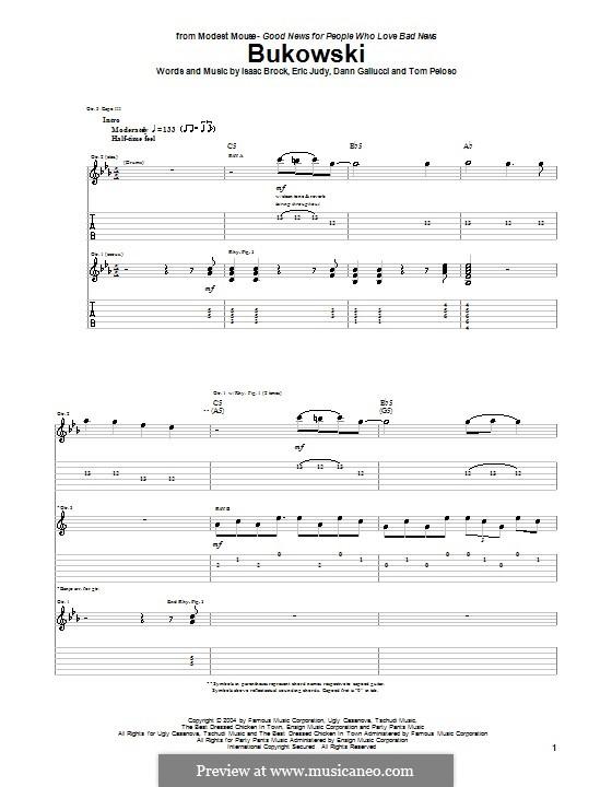 Bukowski (Modest Mouse): Für Gitarre mit Tabulatur by Dann Gallucci, Eric Judy, Isaac Brock, Tom Peloso
