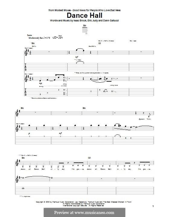Dance Hall (Modest Mouse): Für Gitarre mit Tabulatur by Dann Gallucci, Eric Judy, Isaac Brock