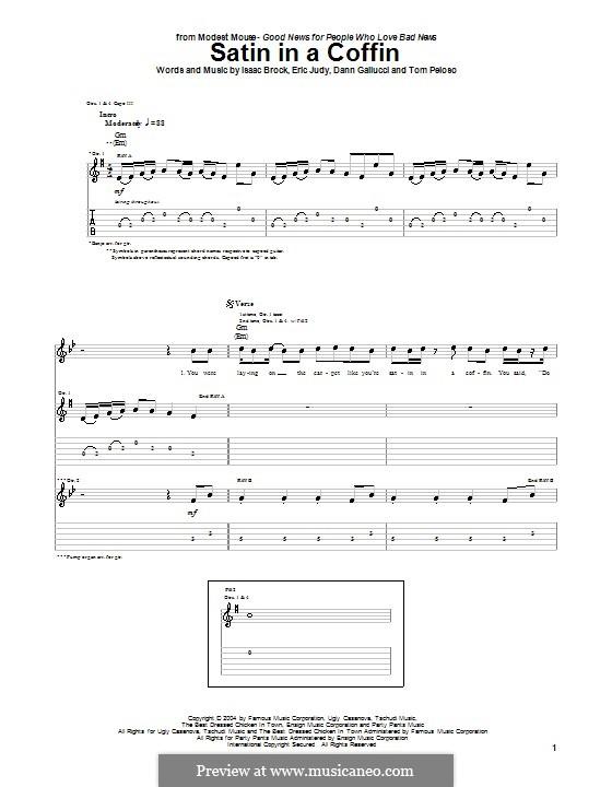 Satin in a Coffin (Modest Mouse): Für Gitarre mit Tabulatur by Dann Gallucci, Eric Judy, Isaac Brock, Tom Peloso