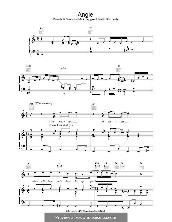 Angie (The Rolling Stones): Für Stimme und Klavier (oder Gitarre) by Keith Richards, Mick Jagger