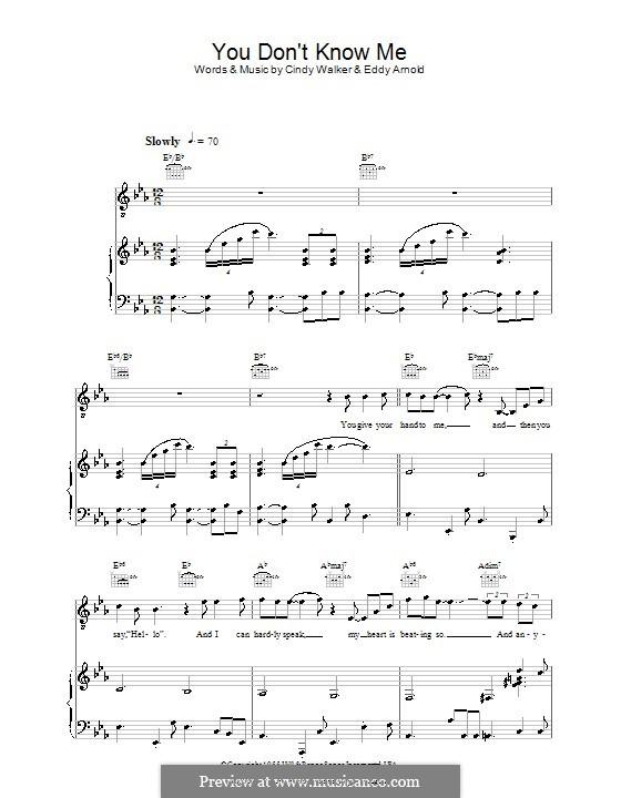 You Don't Know Me: Für Stimme mit Klavier oder Gitarre (Ray Charles) by Cindy Walker, Eddy Arnold