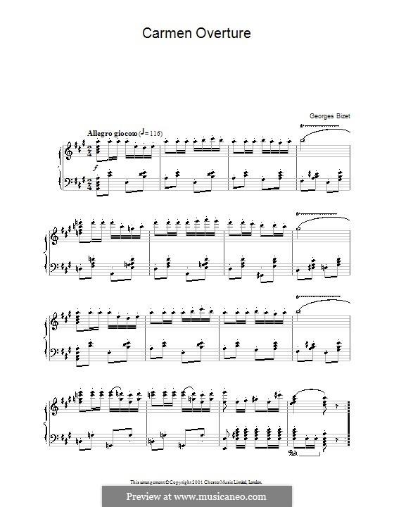 Vollständiger Oper: Ouvertüre, für Klavier by Georges Bizet