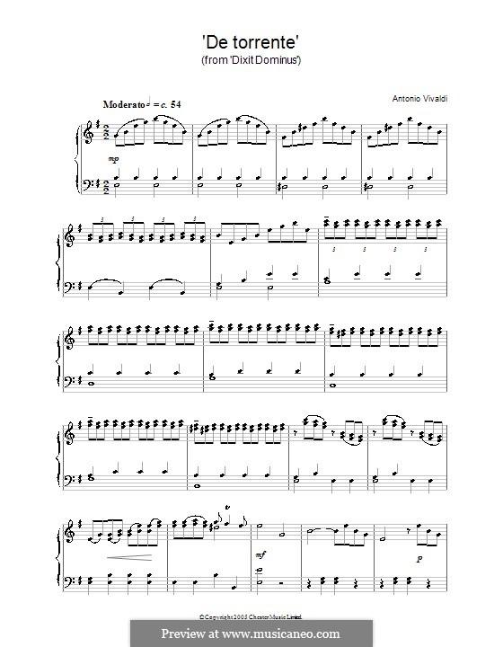 De torrente (from Dixit Dominus): Für Klavier by Antonio Vivaldi