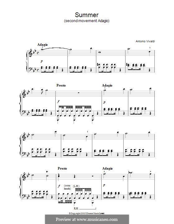 Violin Concerto No.1 in E Major 'La primavera' (Printable Scores): Teil II. Bearbeitung für Klavier by Antonio Vivaldi