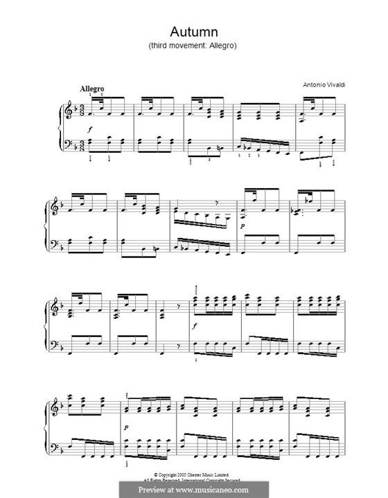 Violinkonzert Nr.3 in F-Dur 'Herbst', RV 293: Teil III. Bearbeitung für Klavier by Antonio Vivaldi
