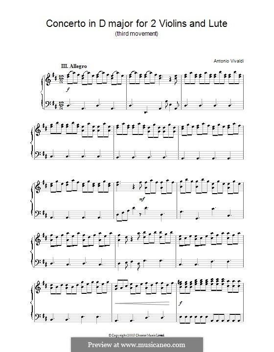 Konzert für zwei Violinen und Laute in D-Dur: Teil III. Version für Klavier by Antonio Vivaldi