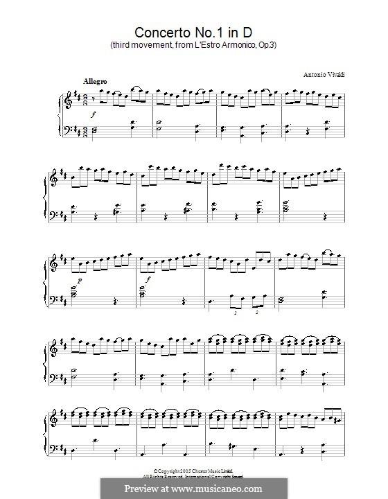 Konzert für vier Violinen und Streicher Nr.1 in D-Dur, RV 549: Teil III. Version für Klavier by Antonio Vivaldi