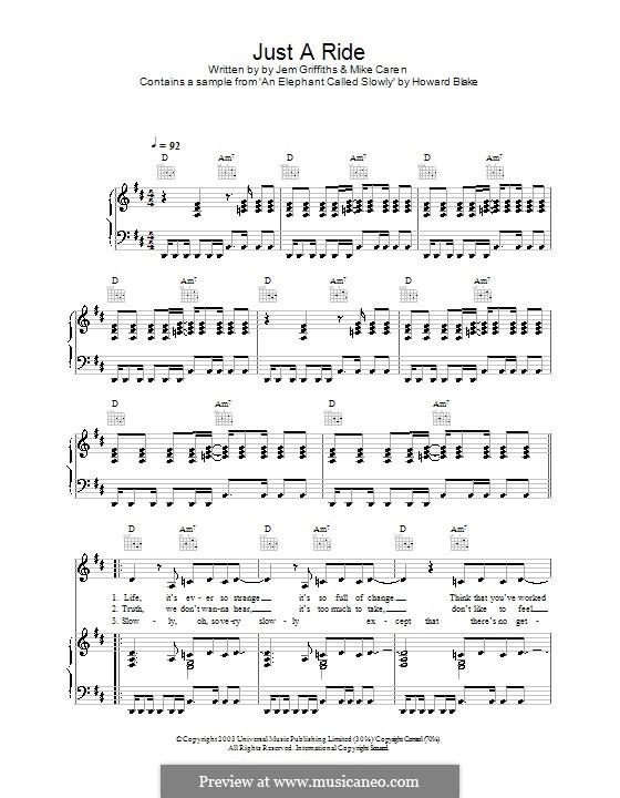 Just a Ride (Jem): Für Stimme und Klavier (oder Gitarre) by Howard Blake, Jemma Griffiths, Mike Caren
