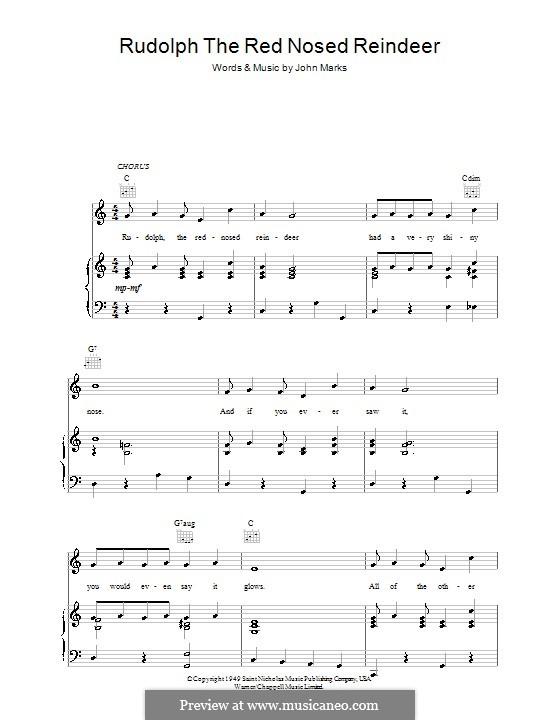 Rudolph the Red-Nosed Reindeer: Für Stimme und Klavier (oder Gitarre) by Johnny Marks