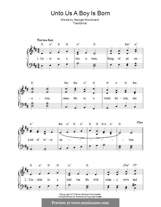 Unto Us a Boy Is Born: Für Stimme und Klavier (oder Gitarre) by folklore