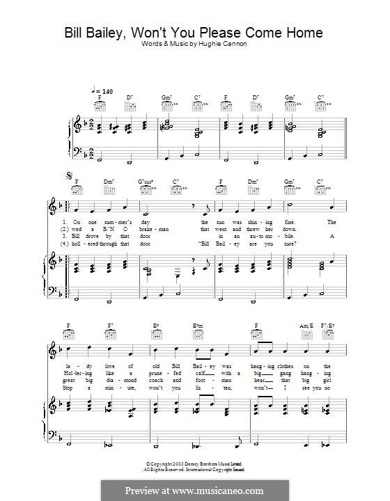 Bill Bailey, Won't You Please Come Home: Für Stimme und Klavier (oder Gitarre) by Hughie Cannon