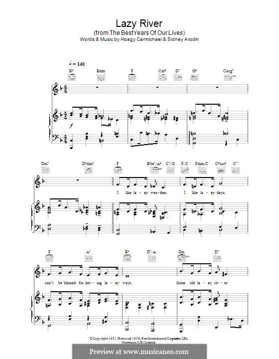 Lazy River (Bobby Darin): Für Stimme und Klavier (oder Gitarre) by Hoagy Carmichael, Sidney Arodin