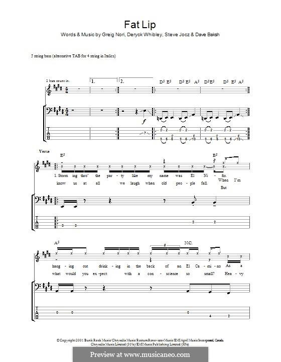 Fat Lip: Für Bassgitarre mit Tabulatur by Sum 41, Dave Baksh, Deryck Whibley, Greig Andrew Nori, Steve Jocz