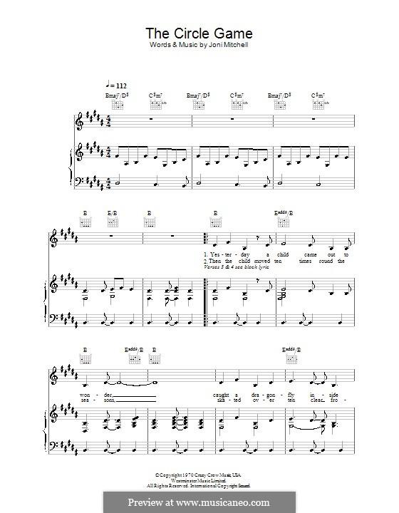 The Circle Game: Für Stimme und Klavier (oder Gitarre) by Joni Mitchell