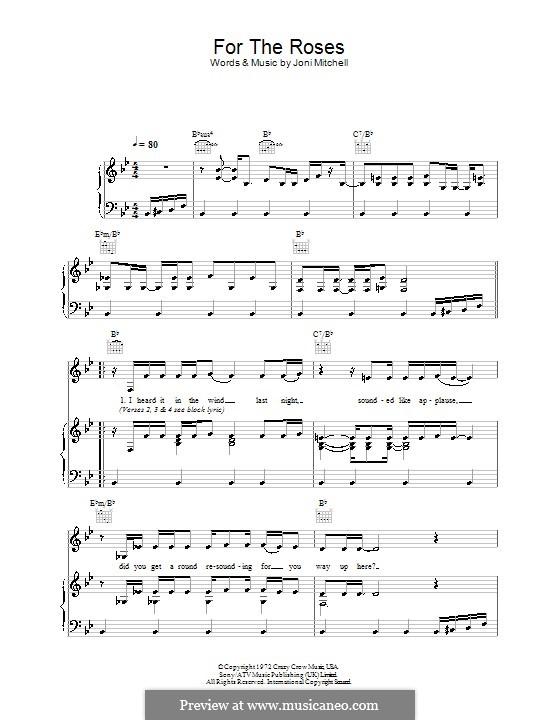 For the Roses: Für Stimme und Klavier (oder Gitarre) by Joni Mitchell