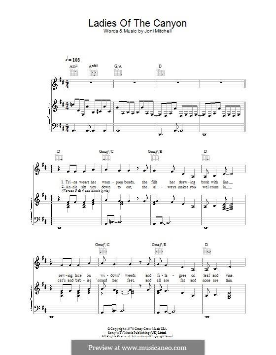 Ladies of the Canyon: Für Stimme und Klavier (oder Gitarre) by Joni Mitchell