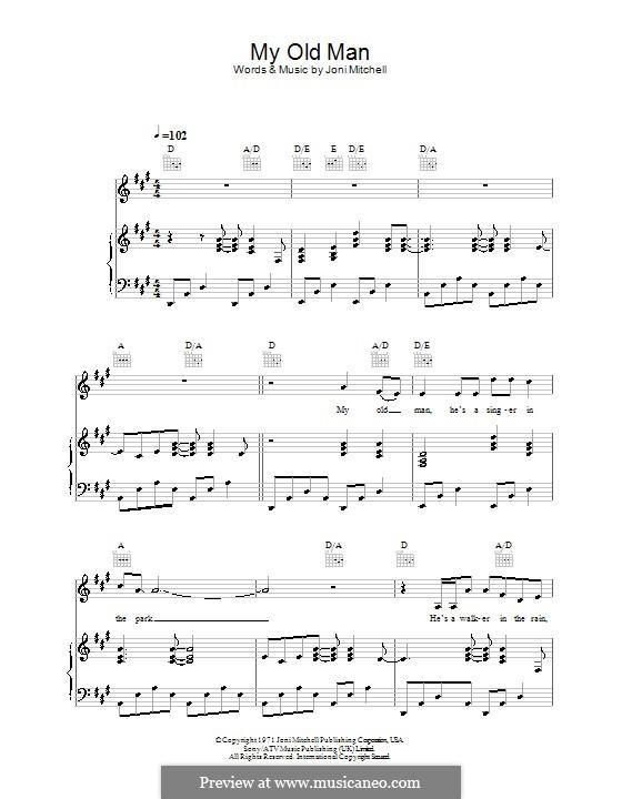 My Old Man: Für Stimme und Klavier (oder Gitarre) by Joni Mitchell