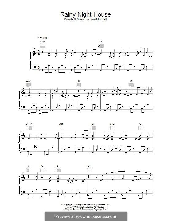 Rainy Night House: Für Stimme und Klavier (oder Gitarre) by Joni Mitchell