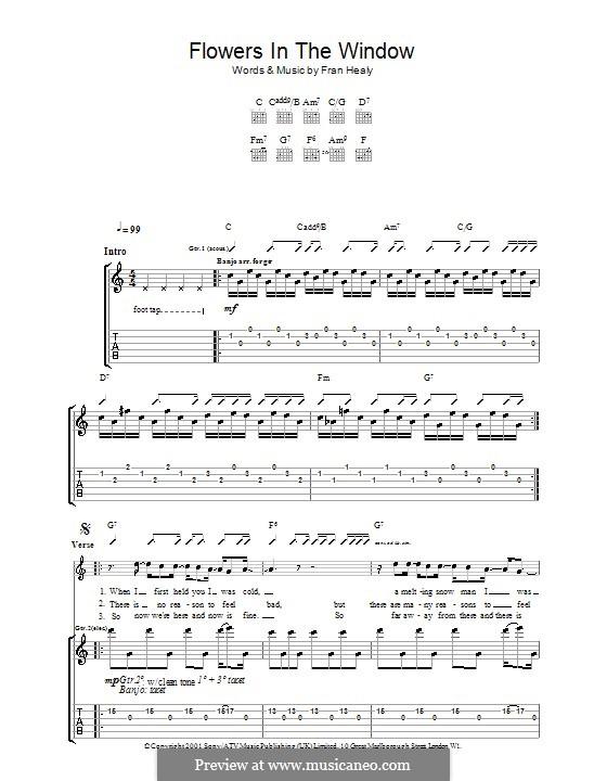 Flowers in the Window (Travis): Für Gitarre mit Tabulatur by Fran Healy