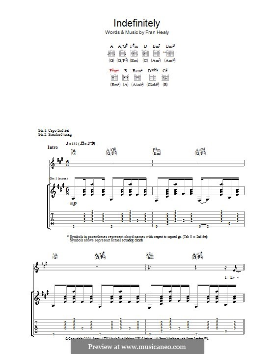 Indefinitely (Travis): Für Gitarre mit Tabulatur by Fran Healy