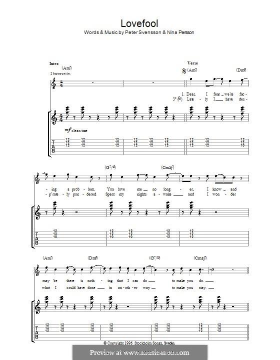 Lovefool (The Cardigans): Für Gitarre mit Tabulatur by Nina Persson, Peter Svensson