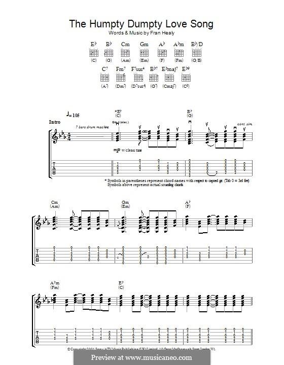 The Humpty Dumpty Love Song (Travis): Für Gitarre mit Tabulatur by Fran Healy