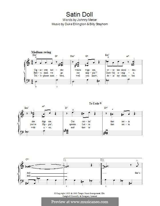 Satin Doll: Für Klavier, leicht by Billy Strayhorn, Duke Ellington