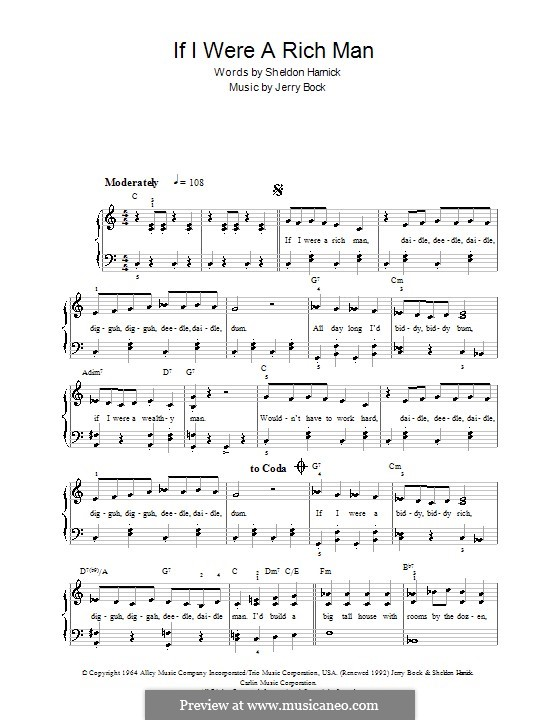 If I Were a Rich Man (from The Fiddler on the Roof): Für Klavier, leicht by Jerry Bock