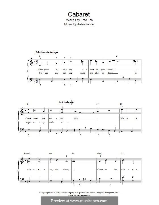 Cabaret (Liza Minnelli): Für Klavier, leicht by John Kander