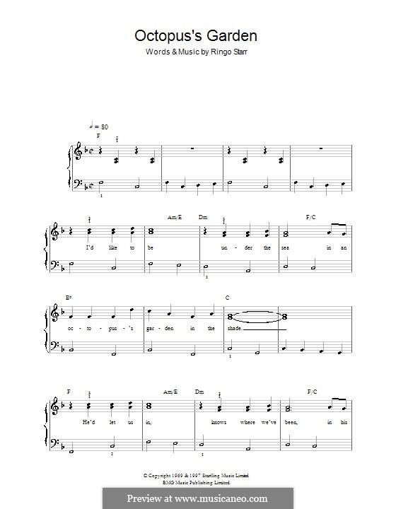 Octopus's Garden (The Beatles): Für Klavier, leicht by Ringo Starr