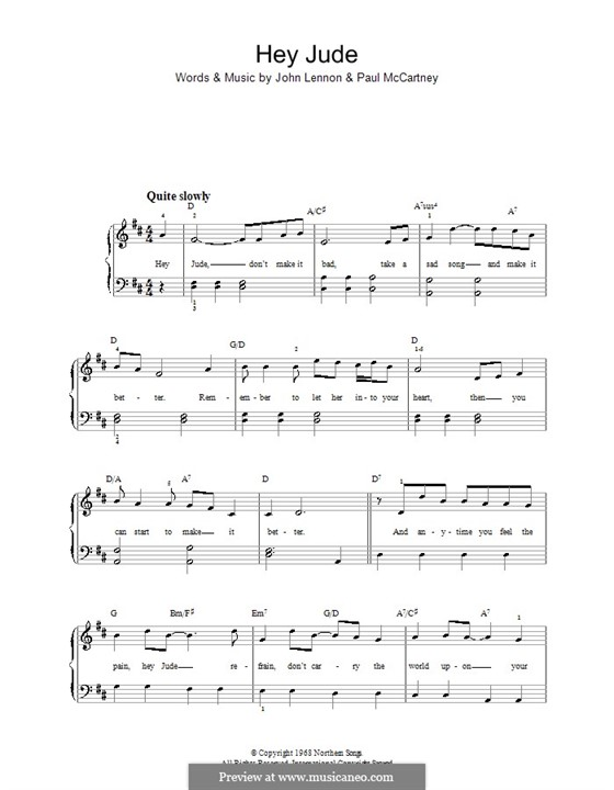 Hey Jude (The Beatles), for Piano: With guitar chords by John Lennon, Paul McCartney