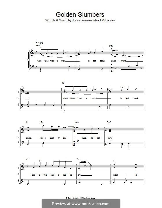 Golden Slumbers (The Beatles): Für Klavier, leicht by John Lennon, Paul McCartney