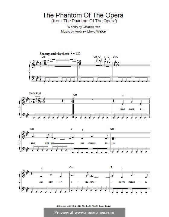 The Phantom of the Opera: Einfache Noten für Klavier by Andrew Lloyd Webber